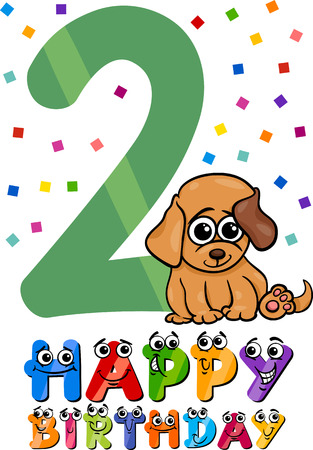 Cartoon Illustration of the Second Birthday Anniversary Design for Children