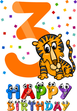 Cartoon Illustration of the Third Birthday Anniversary Design for Children Vector
