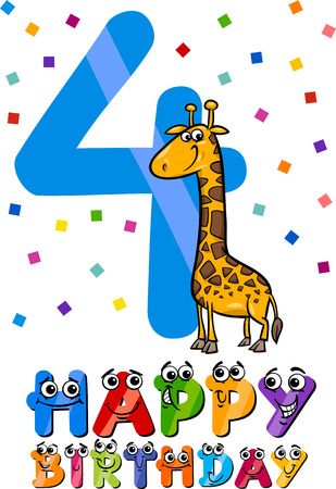Number 4: Cartoon Illustration of the Fourth Birthday Anniversary Design for Children Illustration