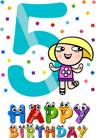 fifth: Cartoon Illustration of the Fifth Birthday Anniversary Design for Girls