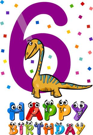 Cartoon Illustration of the Sixth Birthday Anniversary Design for Boys Vector