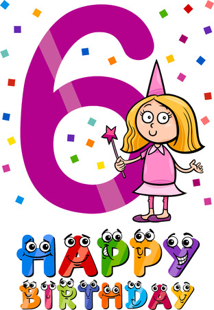 Cartoon Illustration of the Sixth Birthday Anniversary Design for Girls Vector