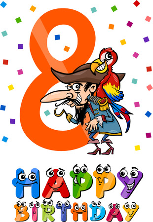 eighth: Cartoon Illustration of the Eighth Birthday Anniversary Design for Boys Illustration