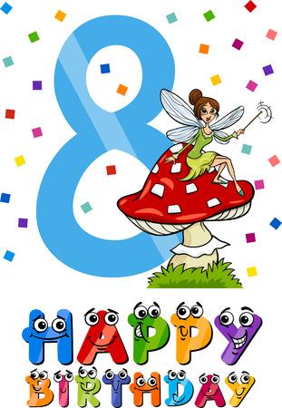 eighth: Cartoon Illustration of the Eighth Birthday Anniversary Design for Girls Illustration