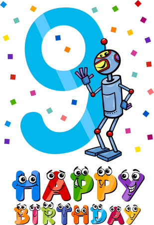 ninth: Cartoon Illustration of the Ninth Birthday Anniversary Design for Boys