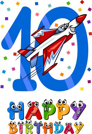 tenth birthday: Cartoon Illustration of the Tenth Birthday Anniversary Design for Boys Illustration