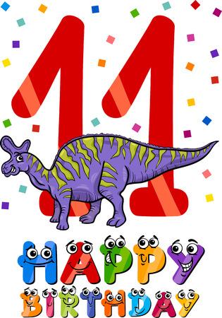 eleventh birthday: Cartoon Illustration of the Eleventh Birthday Anniversary Design for Boys