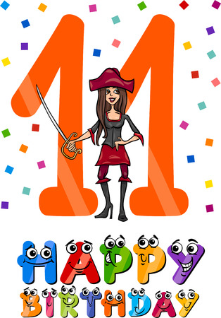 eleventh birthday: Cartoon Illustration of the Eleventh Birthday Anniversary Design for Girls Illustration