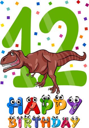 Cartoon Illustration of the Twelfth Birthday Anniversary Design for Boys Vector
