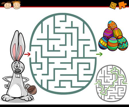Ejemplo de la historieta de Maze Educación o Laberinto Juego para niños en edad preescolar con Easter Themes Vectores