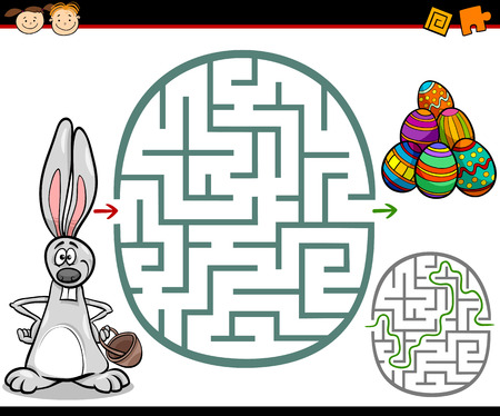 Cartoon Illustration of Education Maze or Labyrinth Game for Preschool Children with Easter Themes Illustration