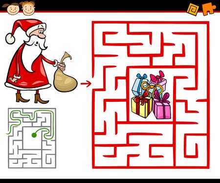 Cartoon Illustration of Education Maze or Labyrinth Game for Preschool Children with Christmas Themes Illusztráció