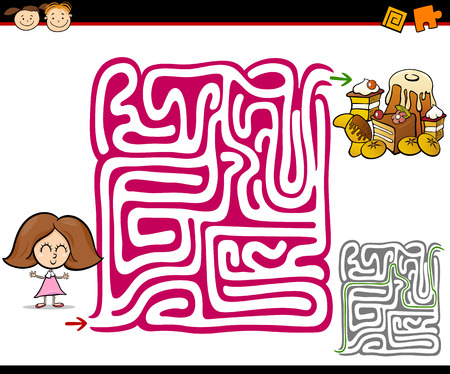 maze game: Cartoon Illustration of Education Maze or Labyrinth Game for Preschool Children with Little Girl and Sweets