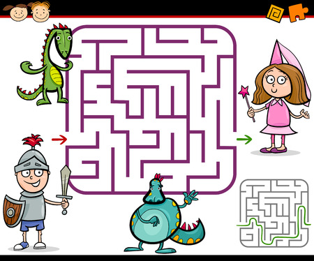 Cartoon Illustration of Education Maze or Labyrinth Game for Preschool Children with Little Boy Knight and Girl Princess Vector