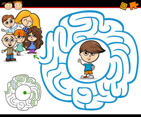 Cartoon Illustration of Education Maze or Labyrinth Game for Preschool Children with Little Boy and Kids Group