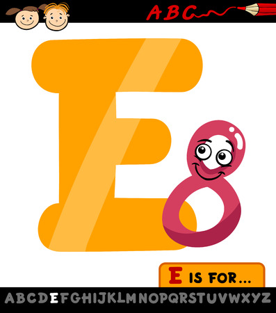 Cartoon Illustration of Capital Letter E from Alphabet with Eight Number for Children Education Vector