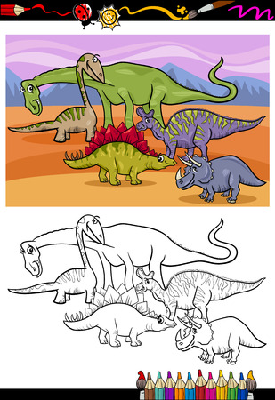 Coloring Book or Page Cartoon Illustration of Color and Black and White Dinosaurs Group for Children Vector