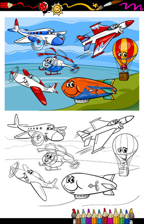 Coloring Book or Page Cartoon Illustration of Color and Black and White Planes and Aircraft Characters Group for Children Vector