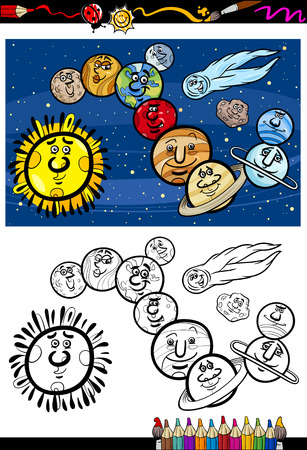 Coloring Book or Page Cartoon Illustration of Color and Black and White Solar System Planets Characters for Children Vector