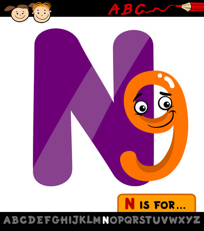 Cartoon Illustration of Capital Letter N from Alphabet with Nine for Children Education Vector