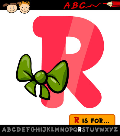 Cartoon Illustration of Capital Letter R from Alphabet with Ribbon for Children Education