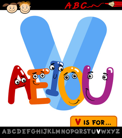 Cartoon Illustration of Capital Letter V from Alphabet with Vowels for Children Education Vector