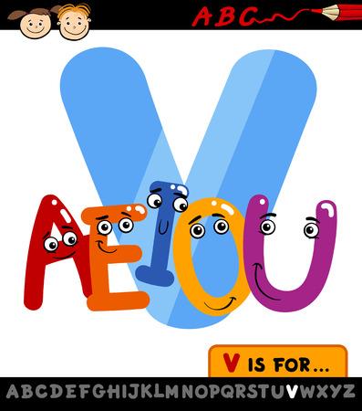 Ejemplo de la historieta de El Capital de la letra V del alfabeto con las vocales de Educación Infantil
