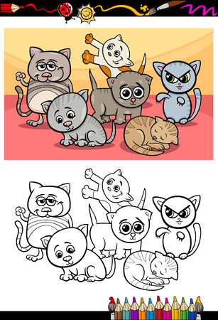 Coloring Book or Page Cartoon Illustration of Color and Black and White Kittens or Cats Group for Children Vector