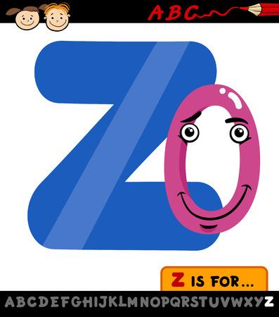 children education: Ejemplo de la historieta de El Capital de la letra Z del alfabeto con Zero para la Educaci�n Infantil Vectores