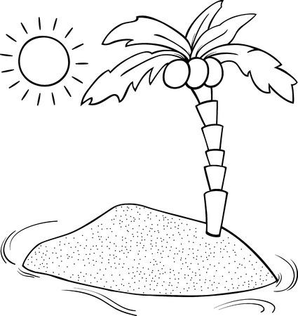 sol caricatura: Negro y dibujos animados de blanco Ilustración de la isla desierta con la palma de coco para Coloring Book