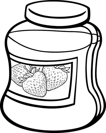 Black and White Cartoon Illustration of Strawberry Jam in a Glass Jar for Coloring Book Illustration