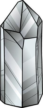 quartz crystal: Cartoon Illustration of Quartz or White Crystal Stone or Gem Illustration