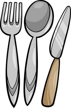 キッチン用品のイラストを漫画フォークとスプーンとナイフ