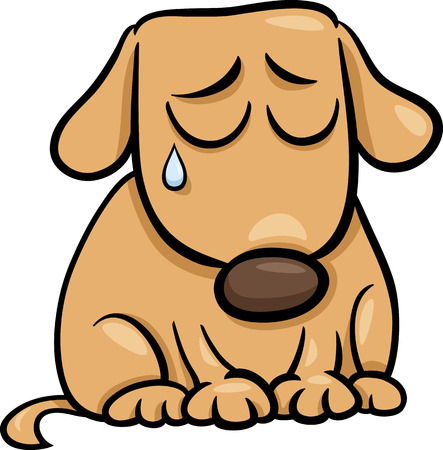 sad dog: Cartoon Illustration of Cute Sad Dog or Puppy