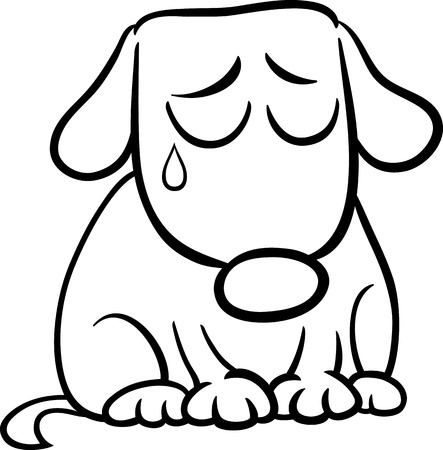 sad dog: Black and White Cartoon Illustration of Cute Sad Dog or Puppy for Coloring Book