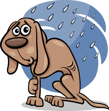 Cartoon Illustration of Poor Homeless Dog in the Rain