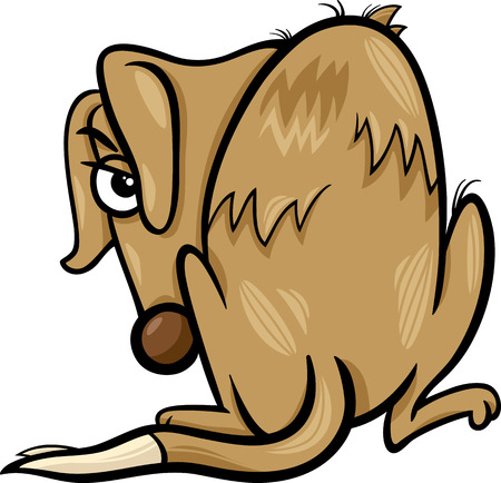 Cartoon Illustration of Poor Homeless Dog Vector