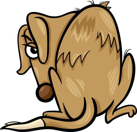 stray dog: Cartoon Illustration of Poor Homeless Dog