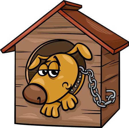 Cartoon Illustration of Poor Sad Dog in the Kennel Vector