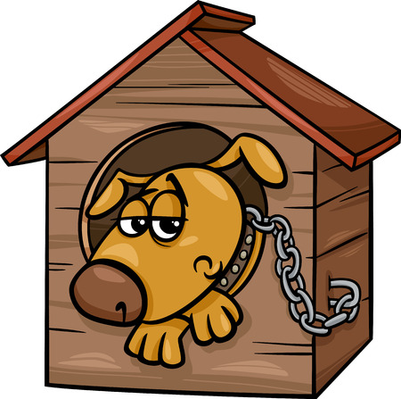 Cartoon Illustration of Poor Sad Dog in the Kennel