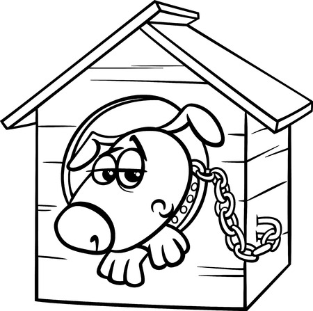 dog kennel: Black and White Cartoon Illustration of Poor Sad Dog in the Kennel for Coloring Book Illustration