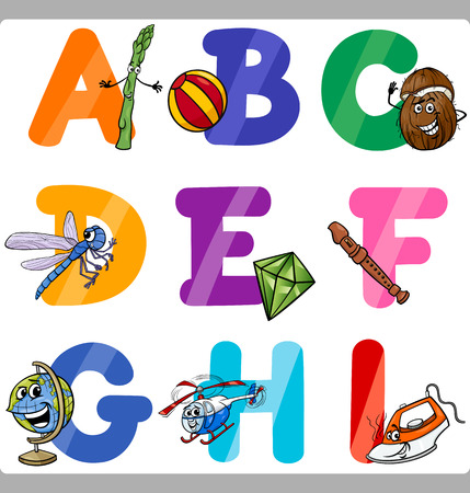 letter of application: Cartoon Illustration of Funny Capital Letters Alphabet with Objects for Language and Vocabulary Education for Children from A to I Illustration