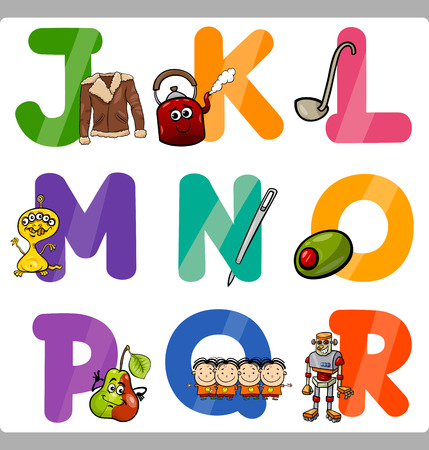 vocabulary: Cartoon Illustration of Funny Capital Letters Alphabet with Objects for Language and Vocabulary Education for Children from J to R
