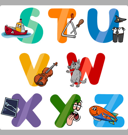 child s: Cartoon Illustration of Funny Capital Letters Alphabet with Objects for Language and Vocabulary Education for Children from S to Z