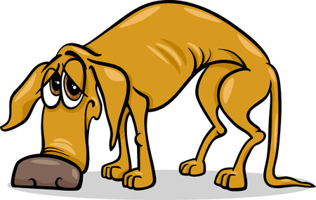 cartoon sick: Cartoon Illustration of Sad Homeless Dog