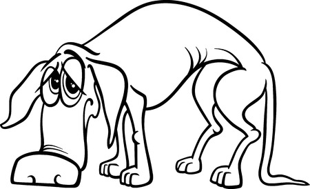 Black and White Cartoon Illustration of Sad Homeless Dog for Coloring Book Vector
