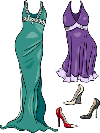 Cartoon Illustration of Women Evening Dresses and Shoes Objects Set Vector