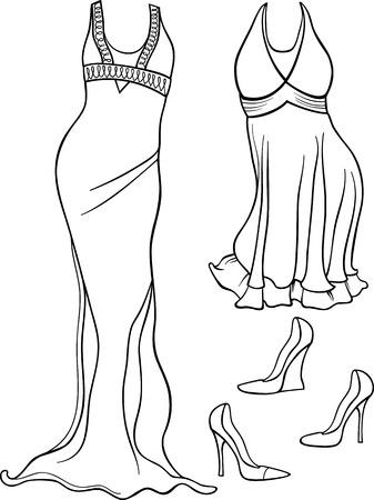 robes de soir�e: Noir et blanc Illustration de bande dessin�e de robes de femmes et chaussures de soir�e objets vis�s pour Coloring Book Illustration