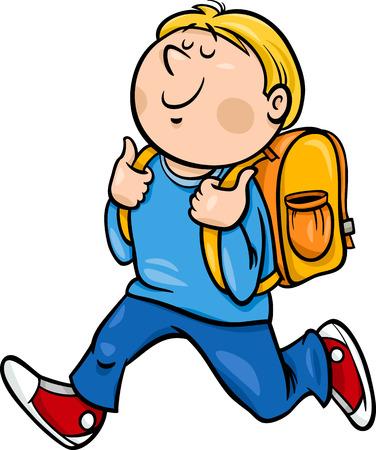 niños saliendo de la escuela: Ejemplo de la historieta de la escuela primaria Niño Estudiante con mochila Vectores