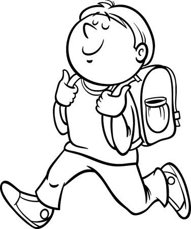 niños saliendo de la escuela: Blanco y negro de dibujos animados de ilustración de la Escuela Primaria Estudiante del muchacho con mochila para Coloring Book